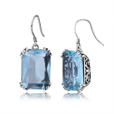 Vintage 925 Sterling  Aquamarine Dangles Earrings For Women - Rocky Mt. Outlet Inc - Shop & Save 24/7