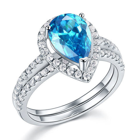 Sterling 925 Silver Bridal Wedding Engagement Ring Set 2 Carat Pear Fancy Blue Simulated Diamond Jewelry - Rocky Mt. Outlet Inc - Shop & Save 24/7