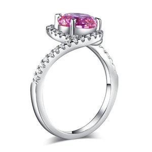 Twist Curl 925 Sterling Silver Wedding Engagement Ring 2 Ct Fancy Pink Simulated Diamond Promise Anniversary - Rocky Mt. Outlet Inc - Shop & Save 24/7