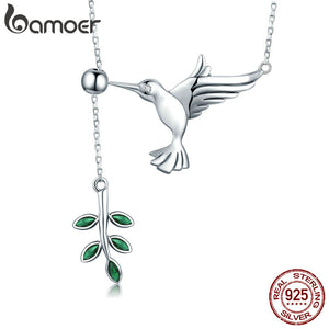 BAMOER Authentic 925 Sterling Silver Spring Bird & Tree Leaf Leaves Dangle Pendant Necklace for Women Silver Jewelry SCN217 - Rocky Mt. Outlet Inc - Shop & Save 24/7