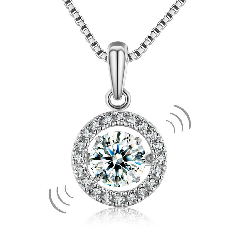 Dancing Stone 1 Carat Pendant Necklace Solid 925 Sterling Silver Good for Wedding Bridesmaid Gift - Rocky Mt. Outlet Inc - Shop & Save 24/7