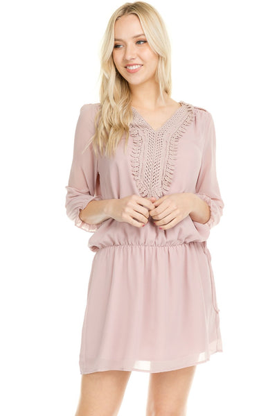 Women's Three Quarter 3/4 Sleeve Crochet Tie Dress - Rocky Mt. Outlet Inc - Shop & Save 24/7