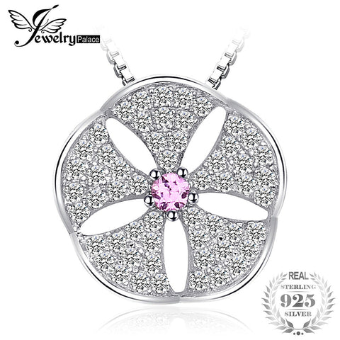 JewelryPalace Flower Created Pink Sapphire Cubic Zirconia Pendant 925 Sterling Silver Chain Not Included
