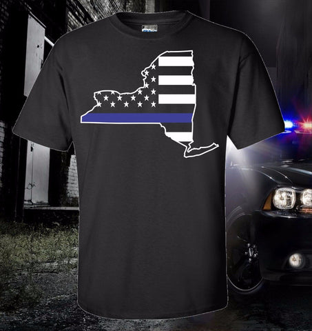 2018 Hot Sale 100% cotton New York State City Thin Blue Line Flag Police Law Enforcement T-SHIRT USA Tee shirt - Rocky Mt. Outlet Inc - Shop & Save 24/7