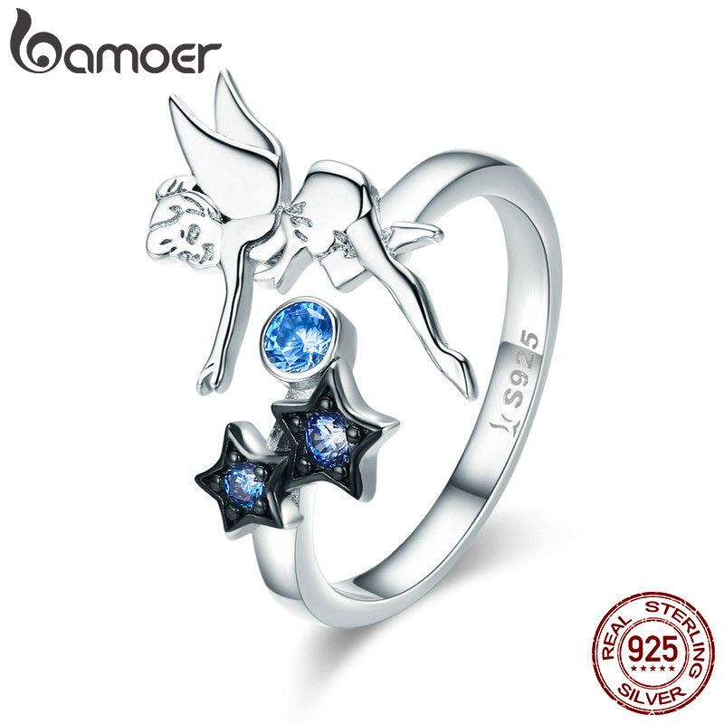 BAMOER Hot Sale Authentic 925 Sterling Silver Fairy with Star Luminous CZ Finger Ring for Women Sterling Silver Jewelry SCR349 - Rocky Mt. Outlet Inc - Shop & Save 24/7