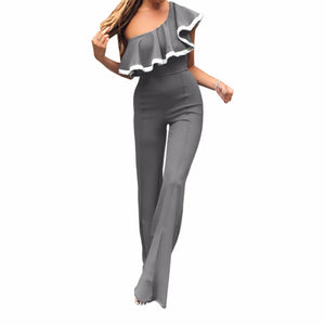 One Shoulder Ruffle Jumpsuits  Falbala Neck Long Flare Pants 2018 Women Plus Size Slim Overall Autumn Female Sexy Playsuit GV874