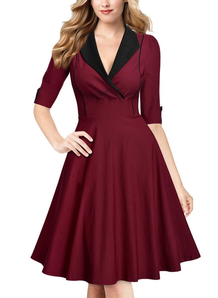 Women's Deep-V Neck Classical Bow Belt Vintage Casual Swing Dress - Rocky Mt. Outlet Inc - Shop & Save 24/7