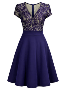 Elegant Floral Lace V-Neck Contrast Cocktail Party Dress - Rocky Mt. Outlet Inc - Shop & Save 24/7