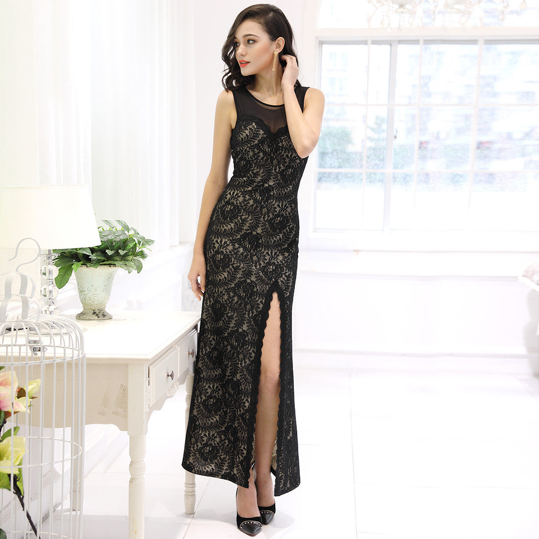 Black Lace Split Side Evening Formal Dress - Rocky Mt. Discount Outlet