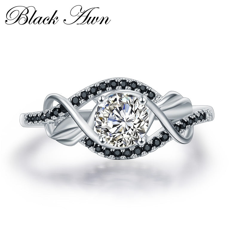 Trendy 3.5 Gram 925 Sterling Silver Black & White CZ Stone Ring