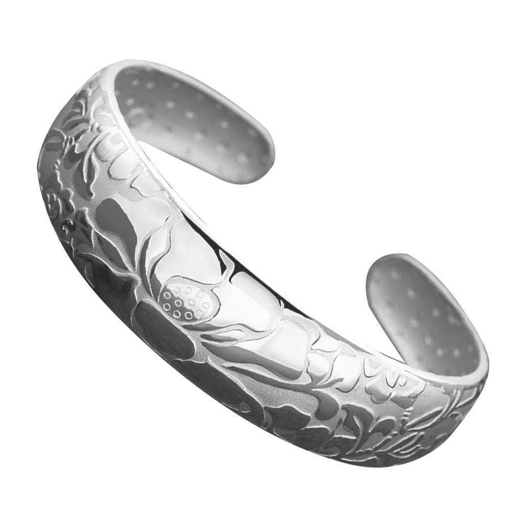 Lotus Flower Bangle Bracelet Silver Plated Delicate Jewelry Open Bracelet - Rocky Mt. Outlet Inc - Shop & Save 24/7