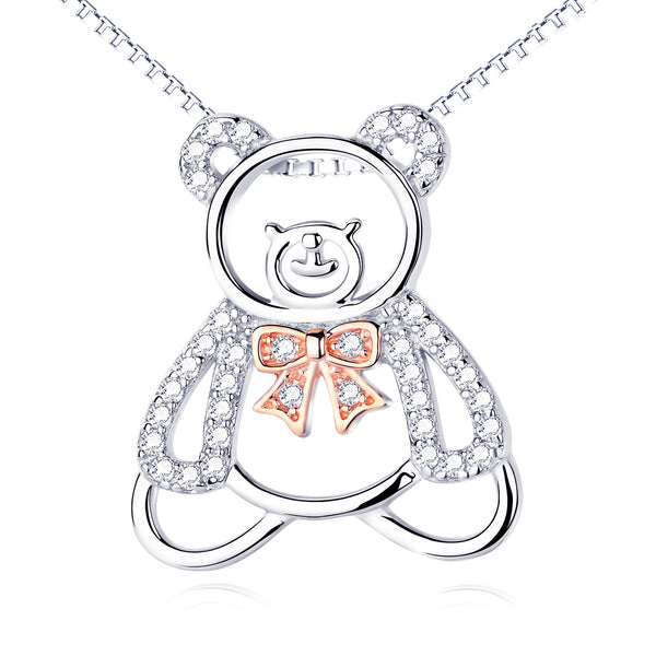 Cat  necklace, Bear pendant cute fun necklace female micro-inlaying cross-selling products 925 sterling silver jewelry - Rocky Mt. Discount Outlet