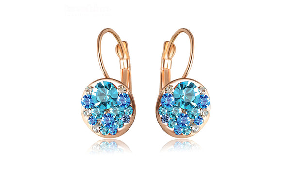 Fashion Round Earrings Stud Rose Gold Color With Austrian Crystals Women Earrings - Rocky Mt. Outlet Inc - Shop & Save 24/7