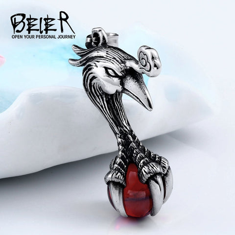 BEIER Punk Stainless Steel Bird Head Pendant Necklace Claw with Red stone Viking Amulet