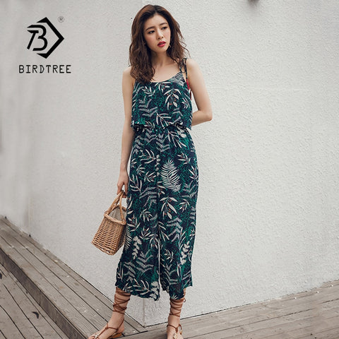 Women's Summer Solid Strap Ruffles High Waist Leaf Print Jumpsuits 2018 New Arrival Elegant Wide Leg Jumpsuits Hots Sale S85807F
