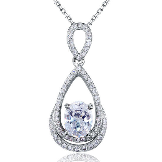 2 Carat Oval Cut Simulated Diamond Sterling 925 Silver Pendant Necklace