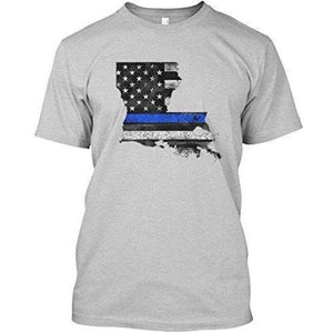 Cotton Thin Blue Line Flag Louisiana casual Printed Tee shirt - Rocky Mt. Outlet Inc - Shop & Save 24/7