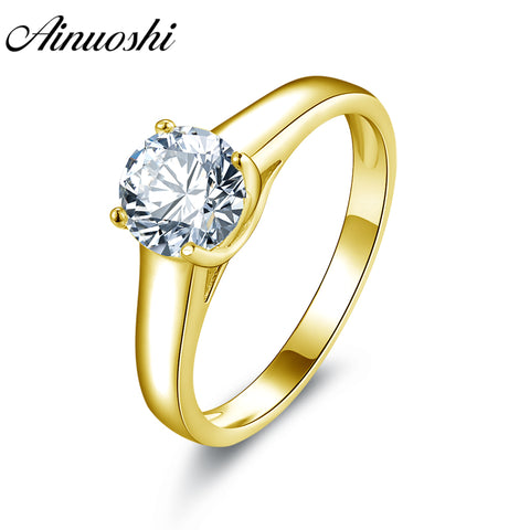 AINUOSHI 10k Solid Yellow Gold Wedding Ring Solitaire 1ct Simulated Diamond Joyeria Bridal Band Trendy Women Anniversary Rings - Rocky Mt. Outlet Inc - Shop & Save 24/7