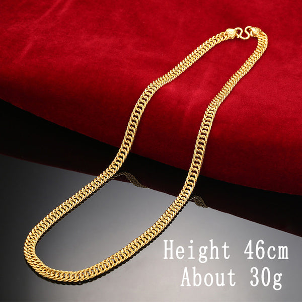 24K Pure Gold Necklace Real AU 999 Solid Gold Chain Good Gifts Man's Upscale Trendy Classic Party Fine Jewelry Hot Sell New 2018 - Rocky Mt. Outlet Inc - Shop & Save 24/7