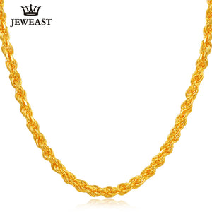 24K Pure Gold Necklace Real AU 999 Solid Gold Chain Nice Simple Classic Rope Chain Upscale Trendy Fine Jewelry Hot Sell New 2018 - Rocky Mt. Outlet Inc - Shop & Save 24/7
