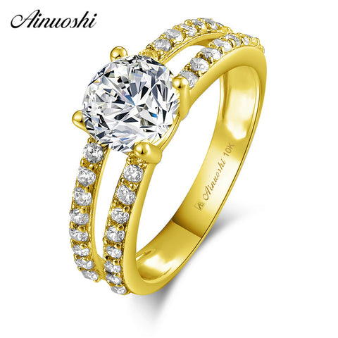 AINUOSHI 10k Solid Yellow Gold Ring 4 Prongs 1.25 ct Round Cut SONA Diamond Wedding Engagement Bridal Band 2 Rows Hollowed Ring - Rocky Mt. Outlet Inc - Shop & Save 24/7