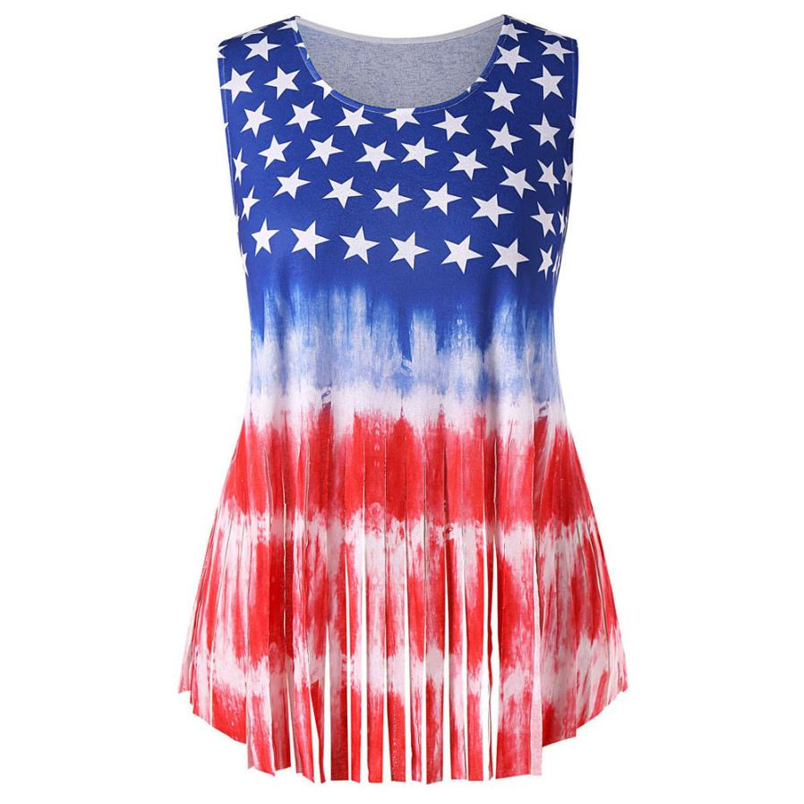 32b4e9ac91debb Women Flag Print Patriotic Print Asymmetrical Shirts Round Neck Women Casual  Loose sleeveless Shirts Blouses 5.9 ...