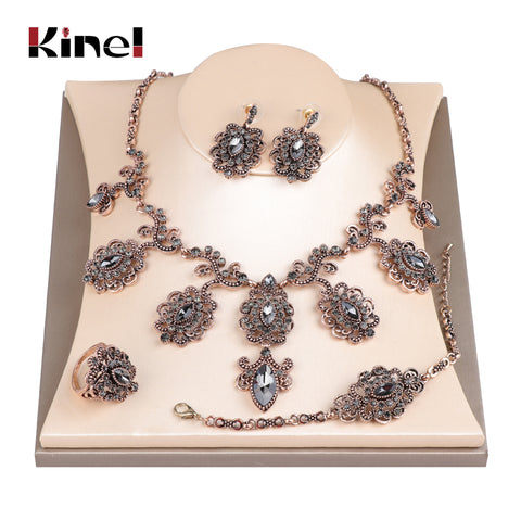 Kinel Luxury 4Pcs Gray Crystal Flower Antique Gold Color Turkish Jewelry Set - Rocky Mt. Outlet Inc - Shop & Save 24/7