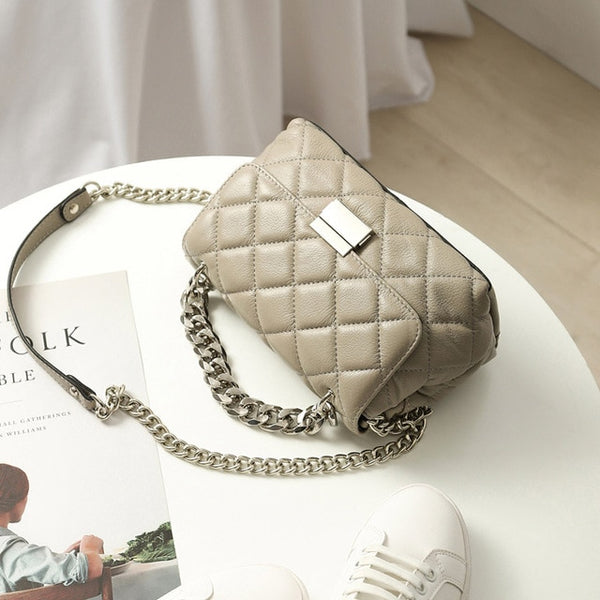 Luxury Genuine White Leather Shoulder Bag