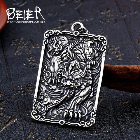 BEIER Stainless Steel Chinese Lucky Beast  Pixiu Fortune Chain Evil Fortune Pendant, Necklace