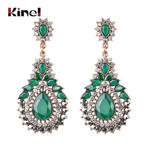 Kinel Luxury Ethnic Green Crystal Flower Vintage Antique Gold Bohemia Earrings - Rocky Mt. Outlet Inc - Shop & Save 24/7