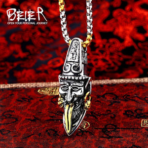 BEIER Stainless Steel Black & White Impermanence Chain Chinese Myth Pendant, Necklace for Men