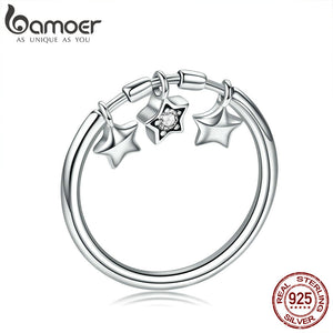 BAMOER 925 Sterling Silver Sparkling Dangle Charm Star Ring - Rocky Mt. Outlet Inc - Shop & Save 24/7