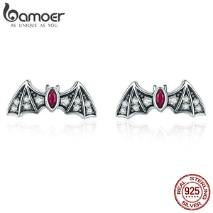 BAMOER 925 Sterling Silver Mysterious Bat Dazzling CZ Stud Earrings - Rocky Mt. Outlet Inc - Shop & Save 24/7