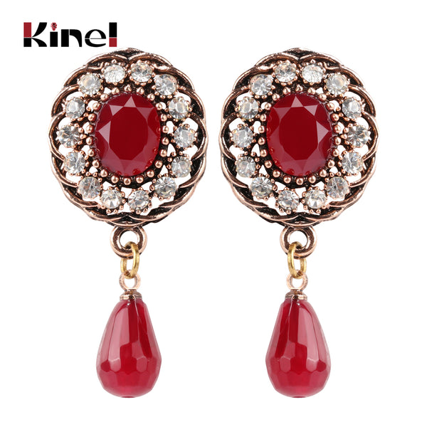 Kine Natural Red Crystal Stone  Ethnic Bohemian Antique Gold Color - Rocky Mt. Outlet Inc - Shop & Save 24/7