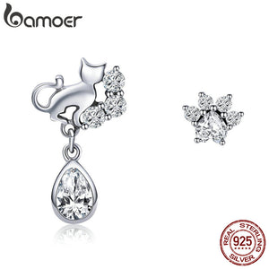 BAMOER 925 Sterling Silver Dazzling CZ Guardian Cat Stud Earrings - Rocky Mt. Outlet Inc - Shop & Save 24/7