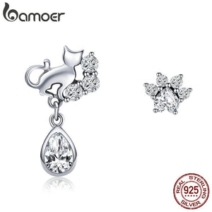 BAMOER Hot Sale 925 Sterling Silver Dazzling CZ Guardian Cat Stud Earrings