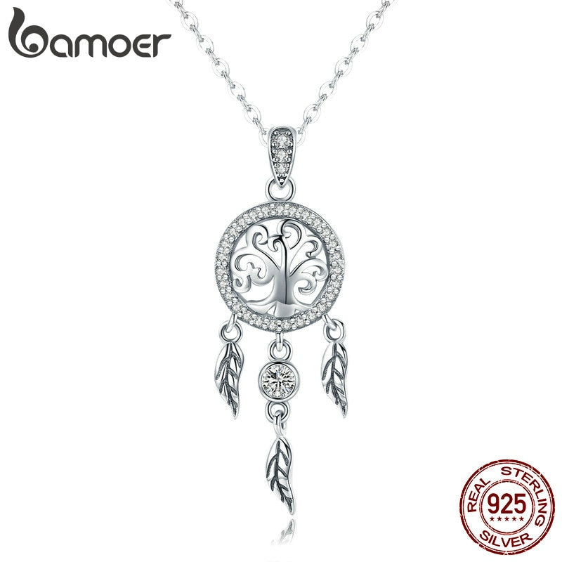 BAMOER Real 925 Sterling Silver Tree of Life Fashion Dream Catcher Pendant Necklace