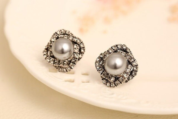 Multi Color Pearl Stud Earrings with Diamonique