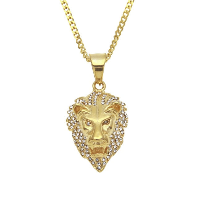 CY&CM Cuban Hip Hop Lion Head Pendant Necklace Men Luxury Iced Out Rhinestone Cz Simulated Diamonds Stainless Steel Male Jewelry