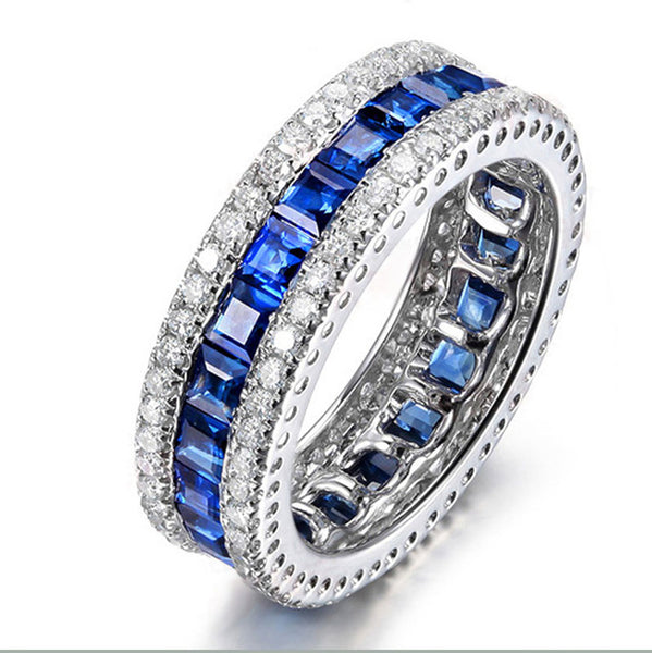 925 Sterling Silver Round With Clear Zircon Blue Spinel Vintage Antique Band Ring