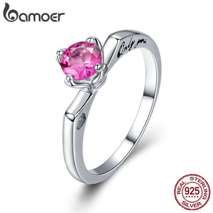 925 Sterling Silver Only You Round Wedding Ring Pink CZ
