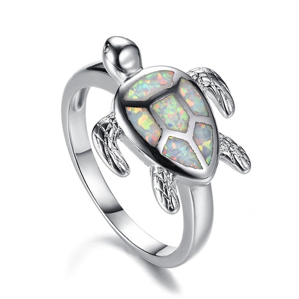 .925 Sterling Silver  Hermosa Natural Australian Opal Sea Turtle Ring