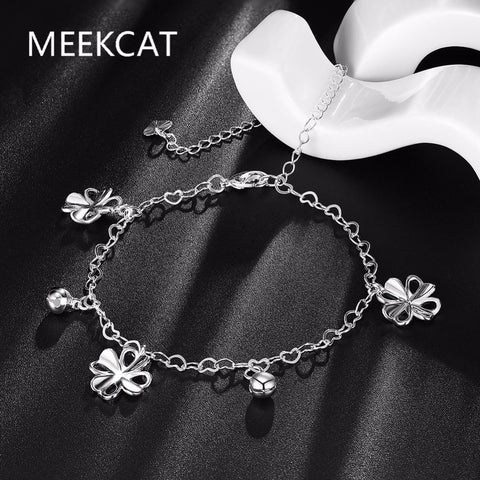 MEEKCAT 925 Sterling Silver Bell and Clover Leaf Anklet