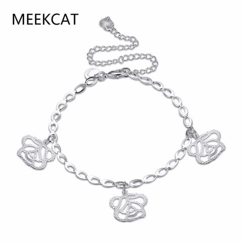 MEEKCAT Elegant 925 Sterling Silver Three Rose Flower Charm Anklet