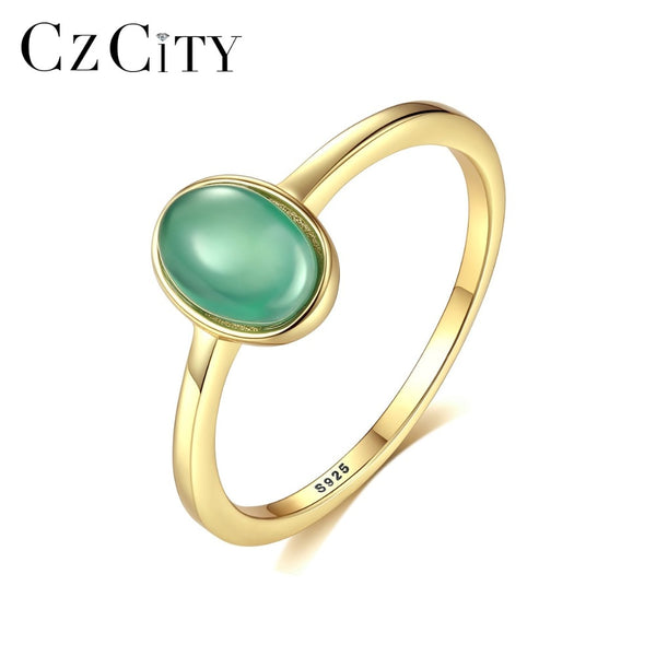 CZCITY Genuine 925 Silver Sterling Oval Emerald Ring