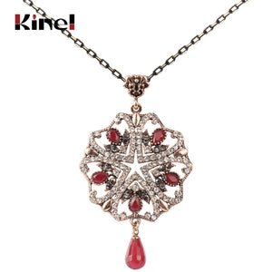 Kinel Fashion Full Crystal Women Geometry Flower Pendant Necklaces Red Natural Stone Beads Antique Gold Vintage Wedding Jewelry