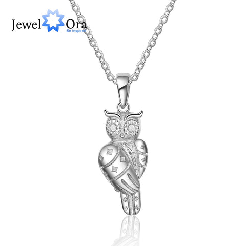 925 Sterling Silver  Owl Shape Design Pendant & Necklace