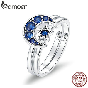BAMOER 925 Sterling Silver Blooming Moon and Star Blue CZ Ring