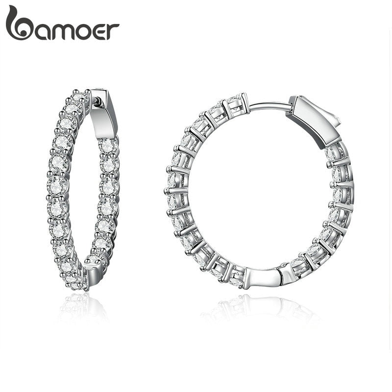 BAMOER Classic Circle Luminous Cubic Zirconia Hoop  Earrings