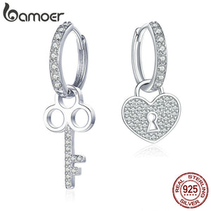 BAMOER Classic  925 Sterling Silver Love Heart Shape Key Lock Drop Earrings